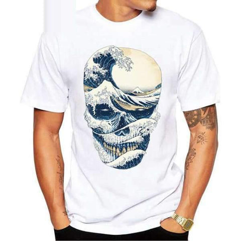 TEEHUB New Fashion Vintage Men T-Shirt Funny The Great Wave off Skull Printed Tshirts Short Sleeve O-Neck Tops Hipster Tees