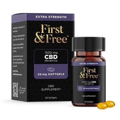 First & Free - CBD Capsules - Isolate Soft Gels - 50mg