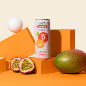 Get More Vitamin D Can - Sparkling Mango & Passionfruit - 330ml Can (Pack of 12)