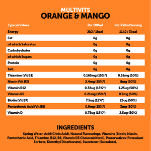 Multivits Orange & Mango 12x330ml
