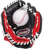 "9"" Youth Red & Black Tee Ball Glove with Ball - Right Hand Thrower"