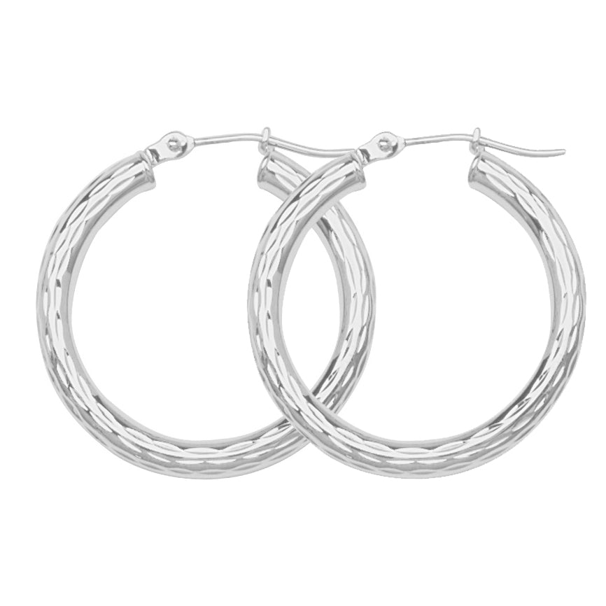 "10K White Gold 3 mm Diamond Cut Hoop Earrings 1.2"" Diameter"