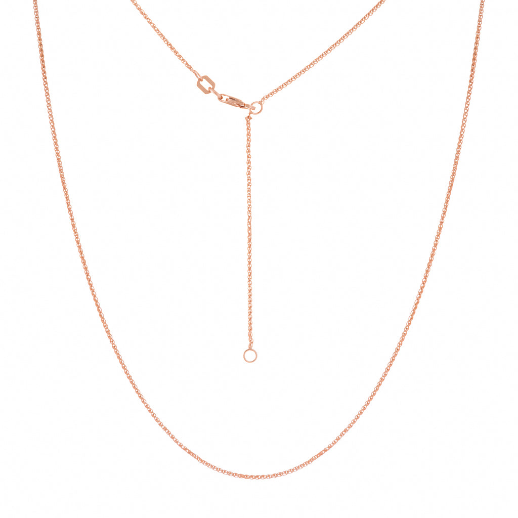 "14K Rose Gold 16"" & 18"" Adjustable Wheat Chain 1.05 mm 2.15 grams"