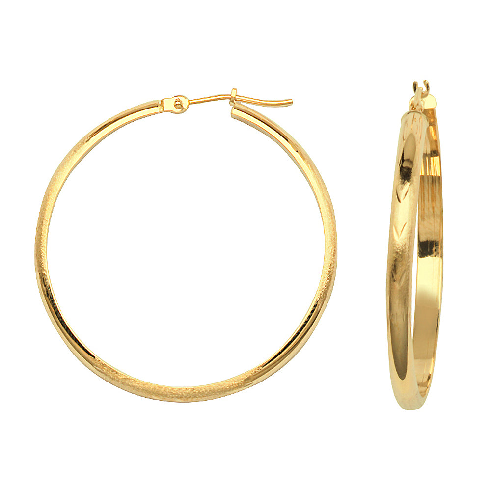 14K Yellow Gold Half Tube Diamond Cut Florentine Style 3 mm Hoop Earrings