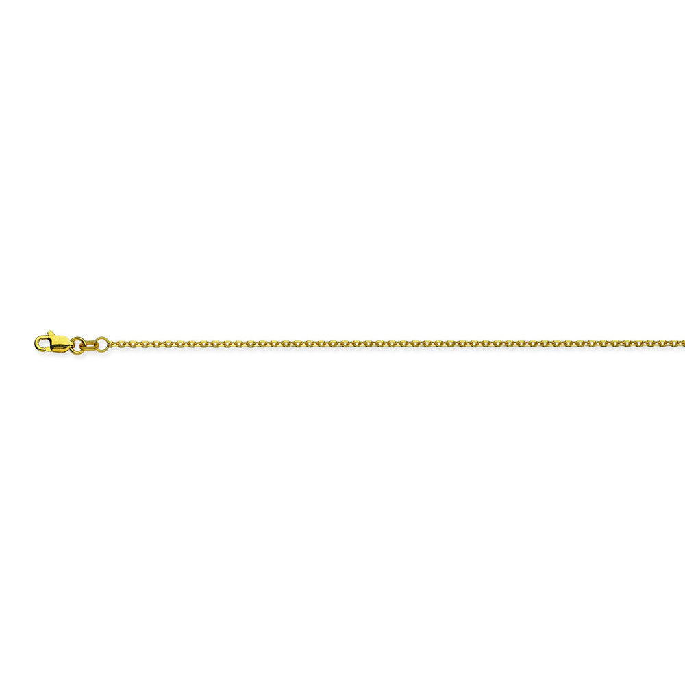 14K Yellow Gold 1.15 Diamond Cut Cable Chain in 16 inch, 18 inch, 20 inch, & 24 inch