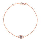 14K Rose Gold Cubic Zirconia Evil Eye Bracelet. Adjustable Diamond Cut Cable Chain 7