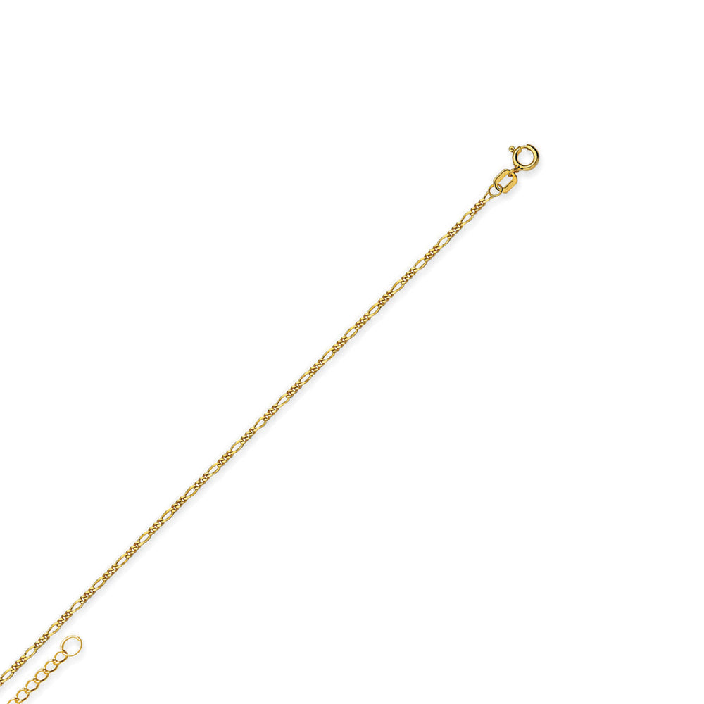"14K Yellow Gold Figaro Chain Anklet Adjustable 9"" to 10"" length"