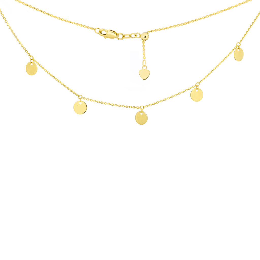 "14K Yellow Gold 5 Spaced Shiny Dangeling Disks Charms Choker Necklace. Adjustable 10""-16"""