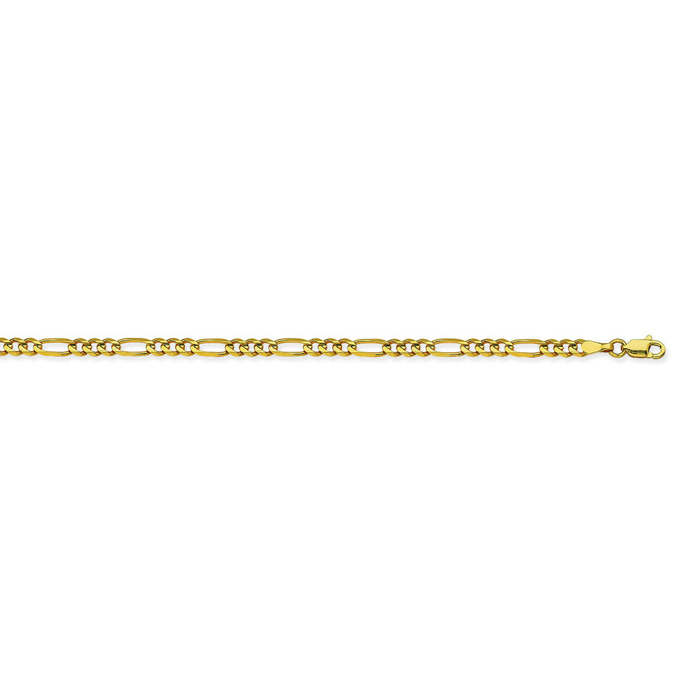 14K Yellow Gold 3.2 Figaro Chain in 8 inch, 16 inch, 18 inch, 20 inch, 22 inch, & 24 inch