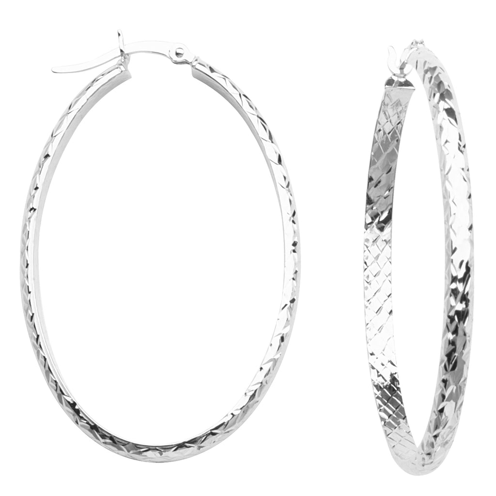 10K White Gold 3 mm Diamond Cut Oval Hoop Earrings 28mmx42mm