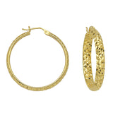 "14K Yellow Gold 3 mm Diamond Cut Hoop Earrings 1"" Diameter"