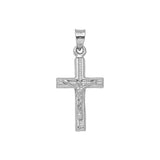 14K White Gold 3D Style Hollow Crucifix Cross Pendant