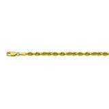 10K Yellow Gold 3.8 Diamond Cut Rope Chain in 22 inch, 24 inch, & 30 inch