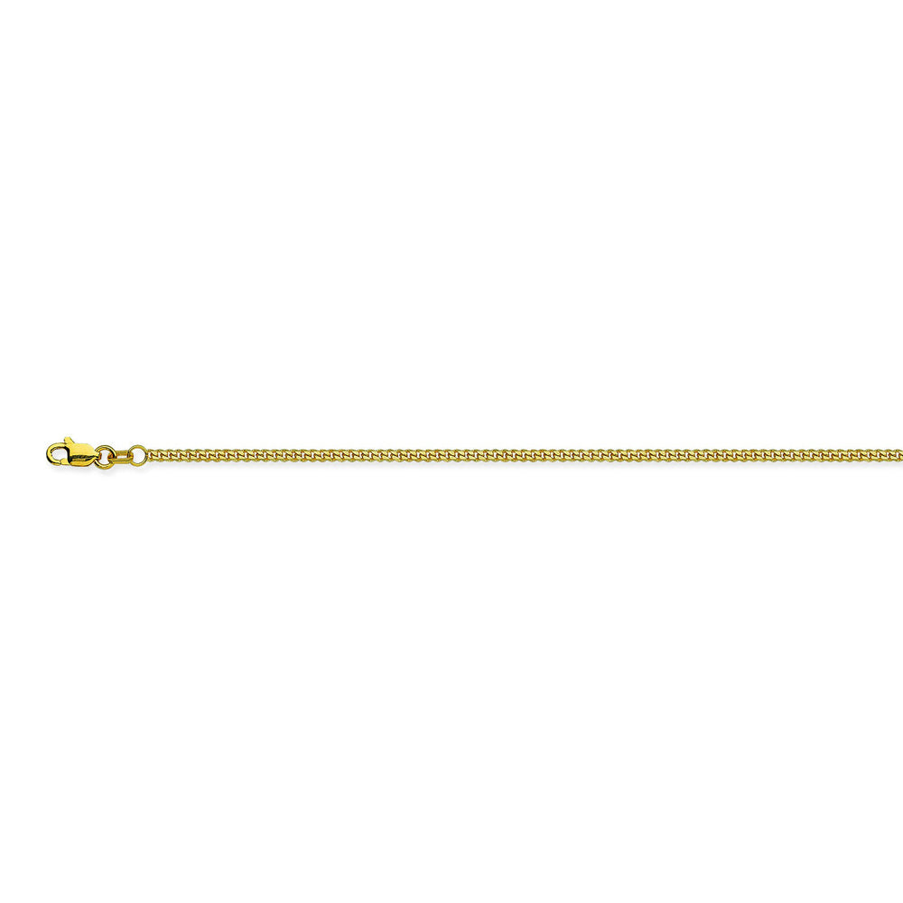 14K Yellow Gold 1.04 Curb Chain in 16 inch, 18 inch, 20 inch, & 24 inch