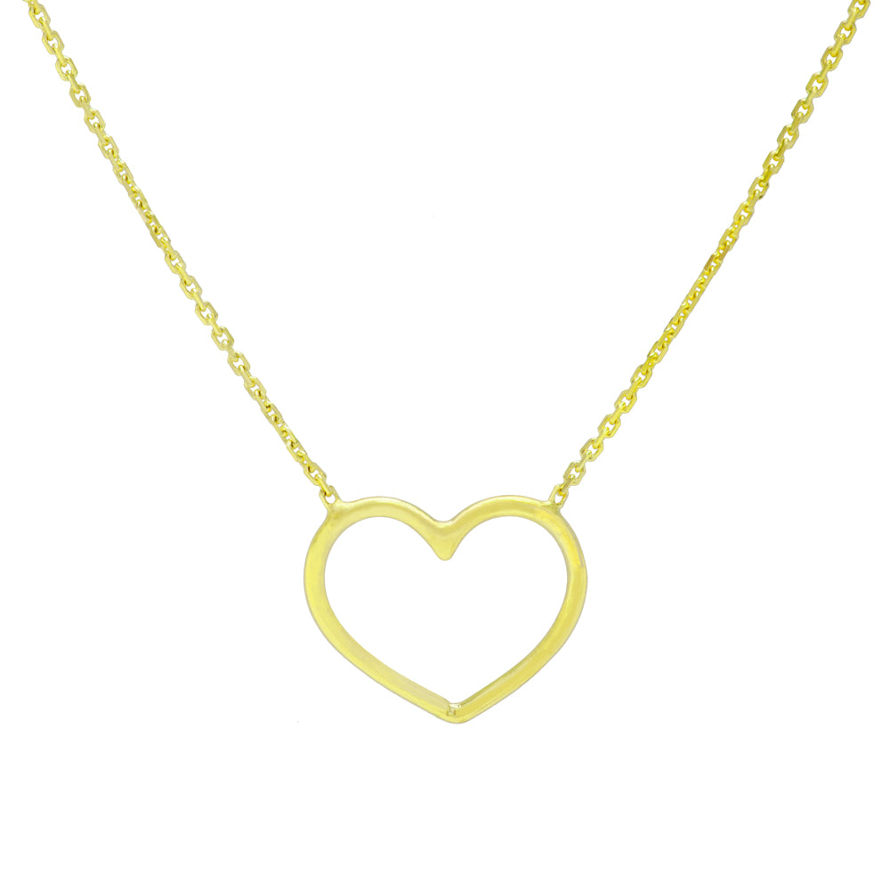 "14K Yellow Gold Open Heart Necklace. Adjustable Wire Chain 16"" to 18"""