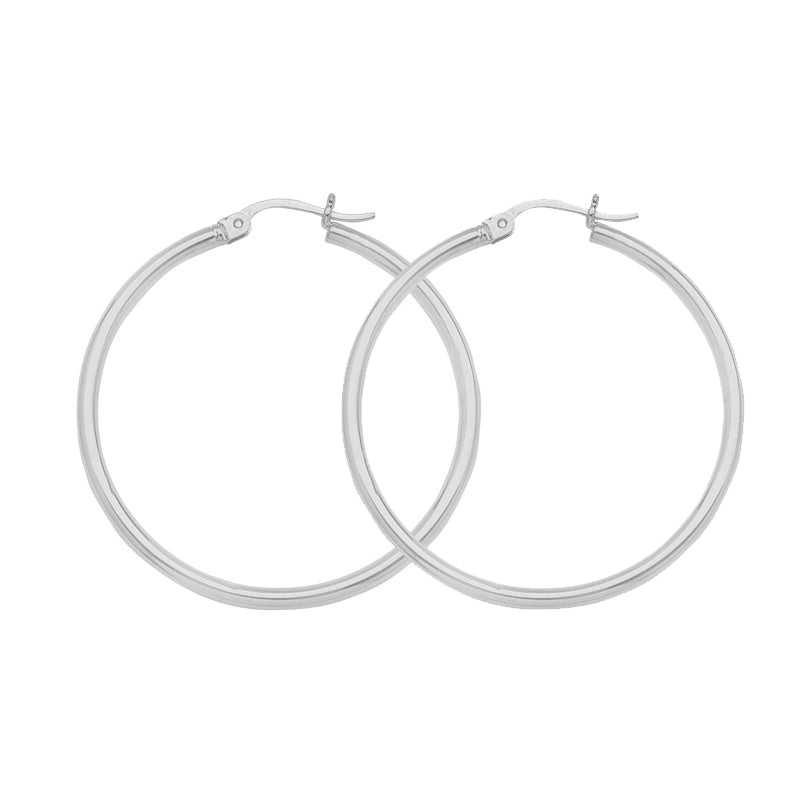"14K White Gold 2 mm Light Weight Hoop Earrings 0.8"" Diameter"