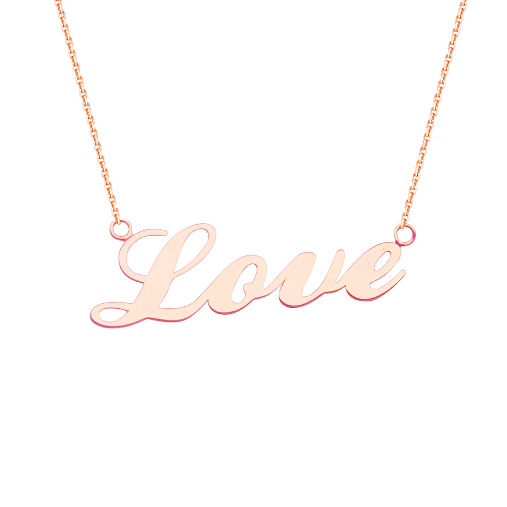 "14K Rose Gold Love Necklace. Adjustable Cable Chain 16"" to 18"""