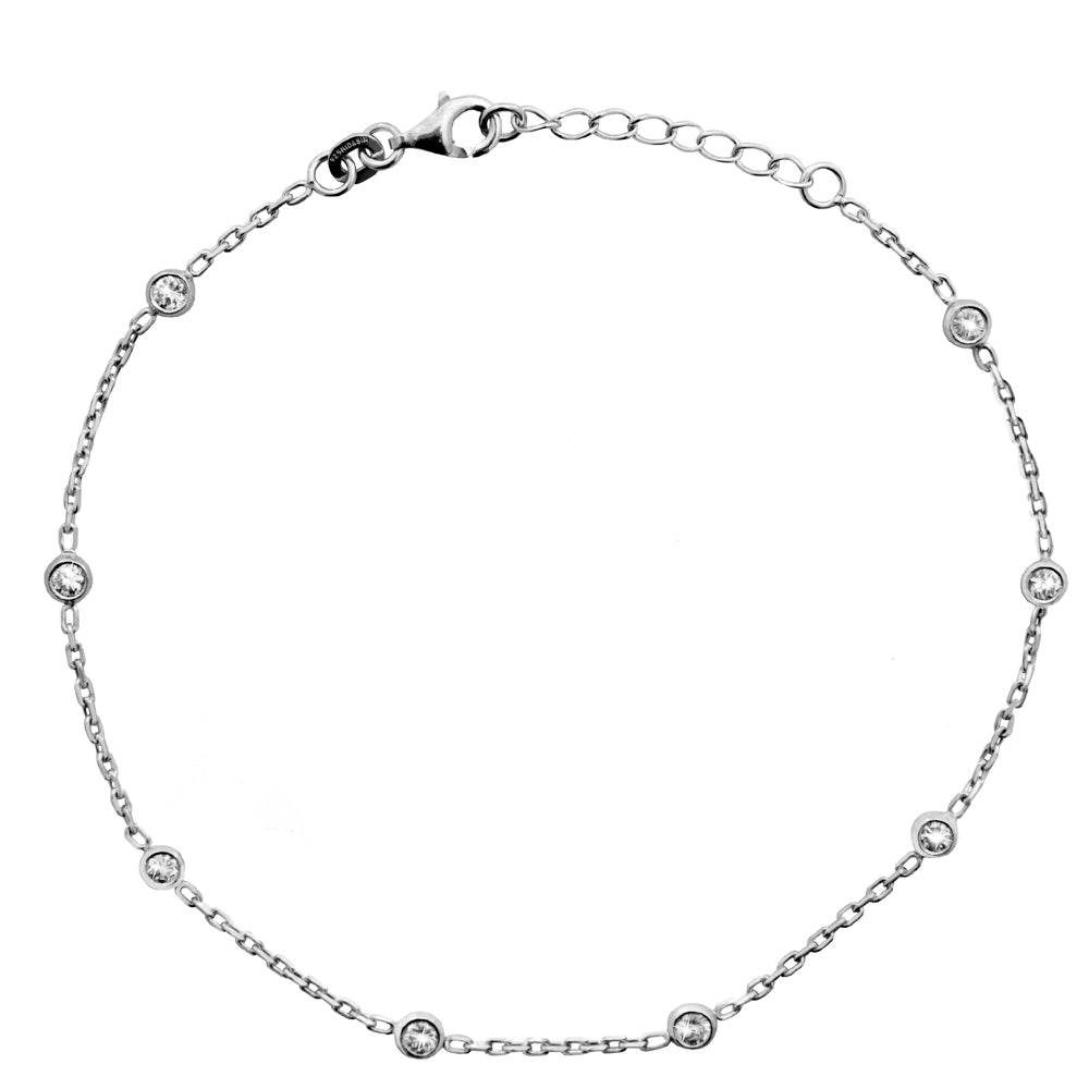 "Sterling Silver 3mm White CZ Stations Anklet Adjustable 9"" to 10"" length"