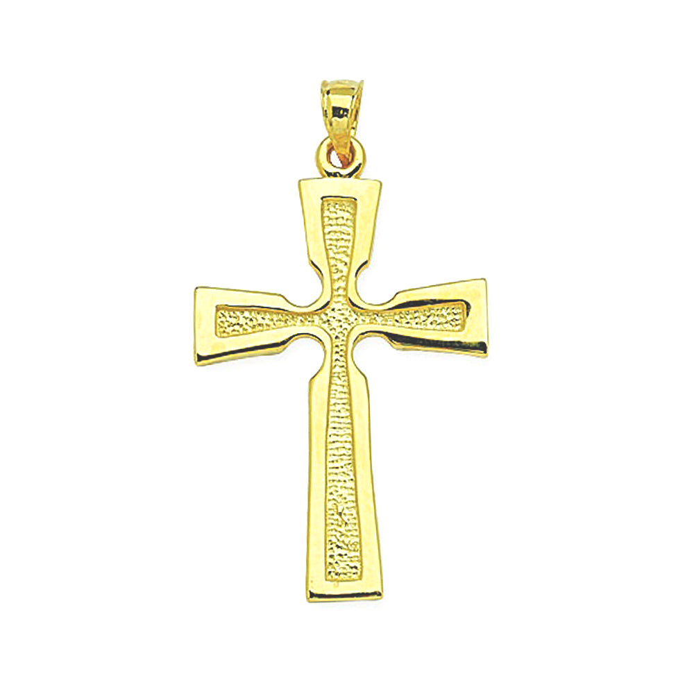 14K Yellow Gold Satin Polish Cross Pendant