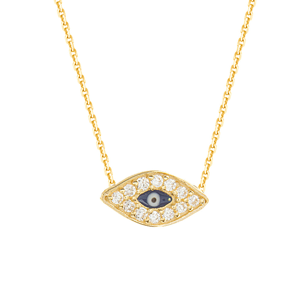 "14K Yellow Gold Cubic Zirconia Evil Eye Necklace. Adjustable Diamond Cut Cable Chain 16"" to 18"""