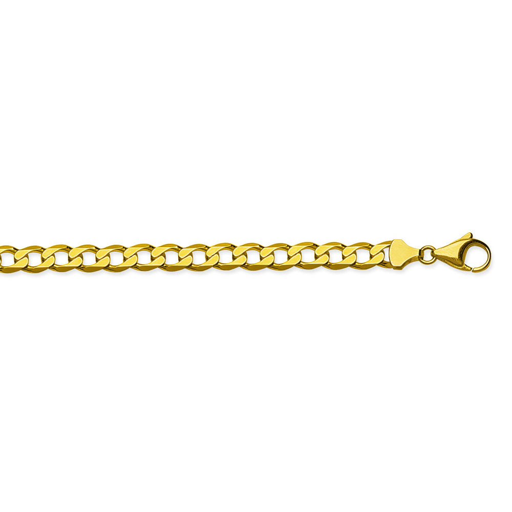 10K Yellow Gold 7.2 Curb Chain in 8.5 inch, 22 inch, 24 inch, & 30 inch
