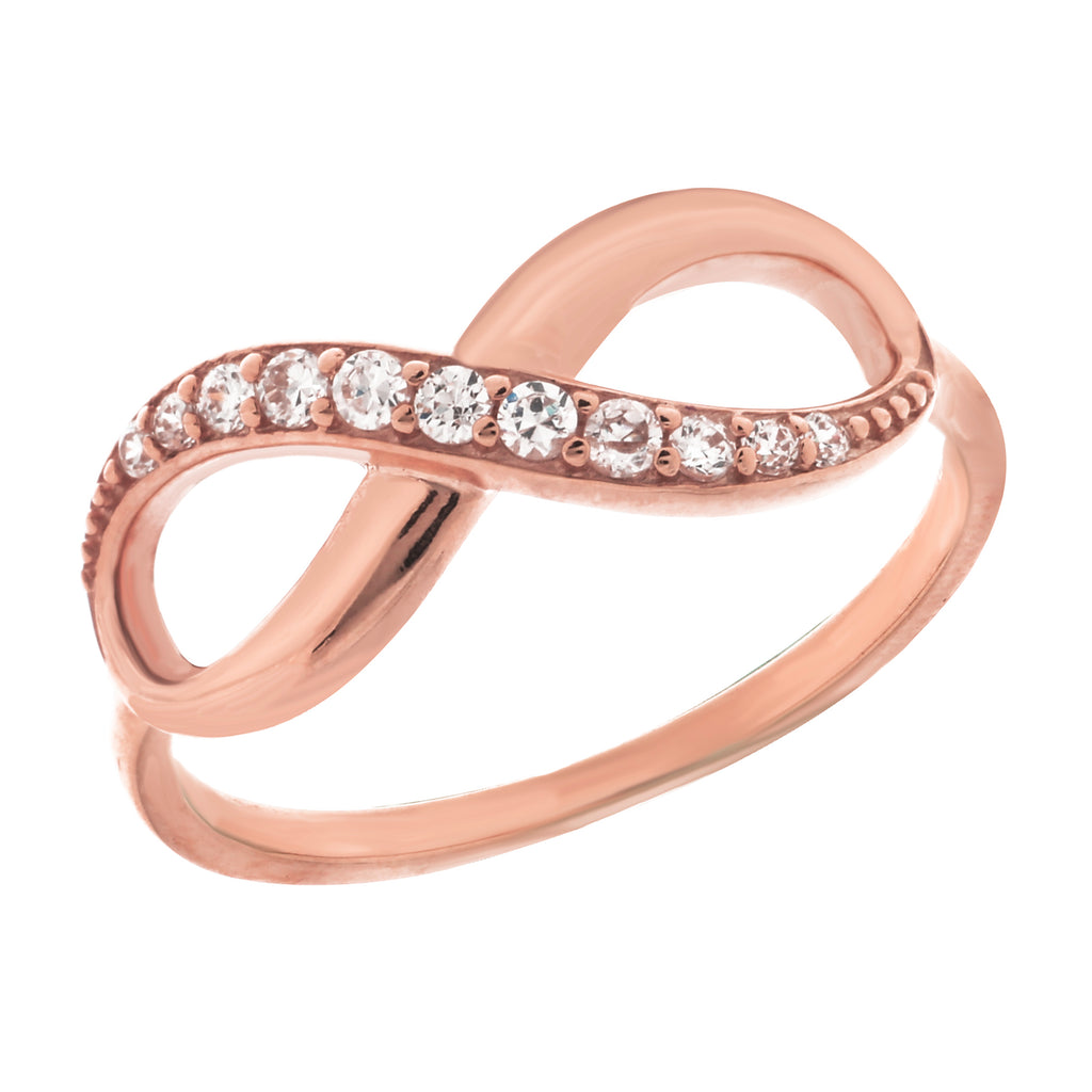 14K Rose Gold Infinity Diamond Ring