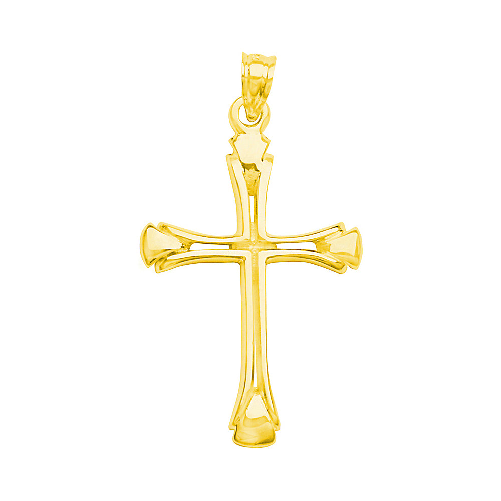 14K Yellow Gold Triangle Tip Cutout Cross Pendant