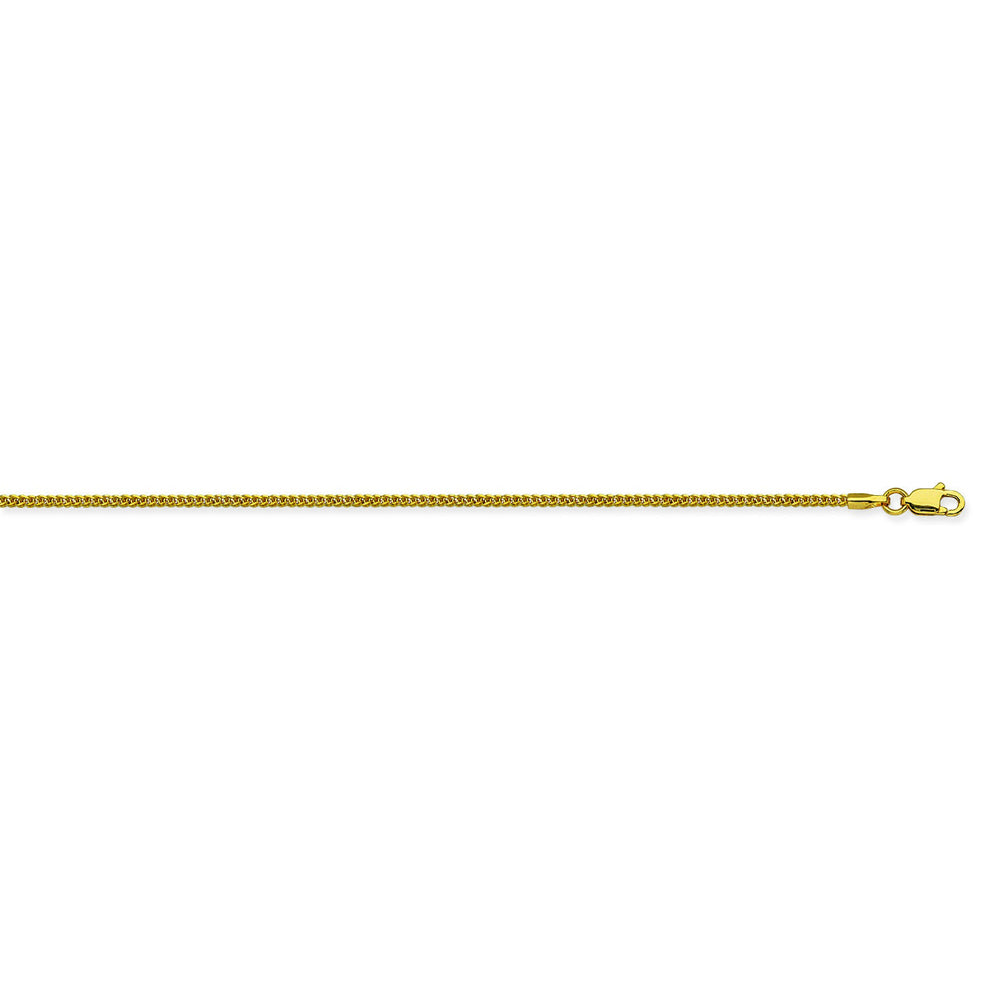 14K Yellow Gold 1.25 Square Wheat Chain in 16 inch, 18 inch, 20 inch, & 24 inch