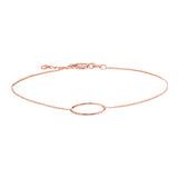 "14K Rose Gold Circle Bracelet. Adjustable Cable Chain 7"" to 7.50"""