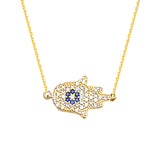 14K Yellow Gold Hamsa Hand Cubic Zirconia Necklace. Adjustable Cable Chain 16