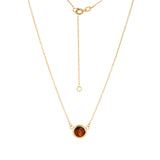 "14K Yellow Gold Bezel Set Garnet Necklace. Adjustable Cable Chain 16"" to 18"""