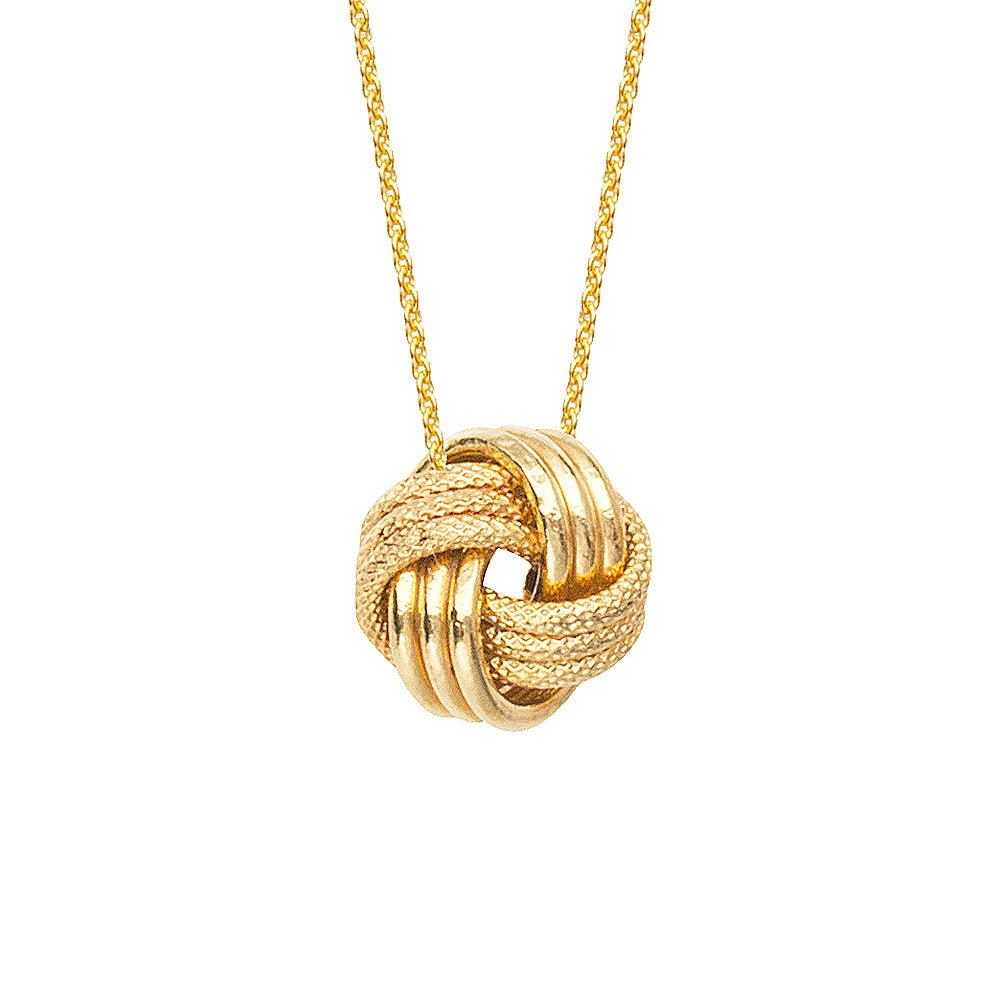 "14K Yellow Gold Plain and Textured Tripple Tube Love Knot Necklace. Adjustable Cable Chain 16""-18"""