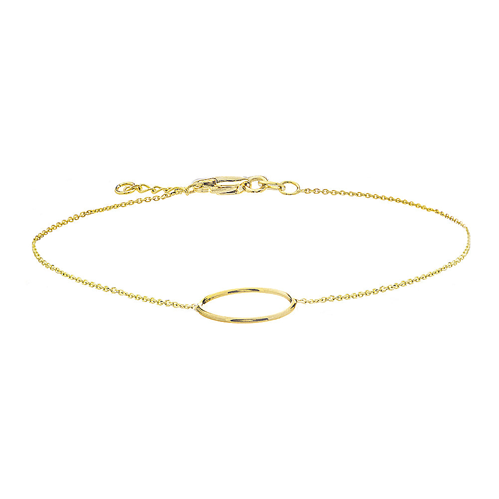 "14K Yellow Gold Circle Bracelet. Adjustable Cable Chain 7"" to 7.50"""