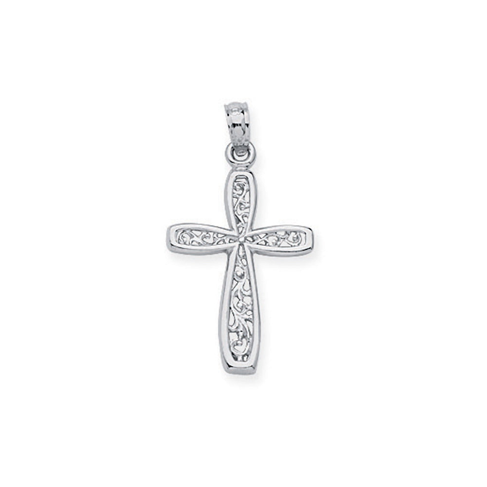 14K White Gold Filigree Style Cross Pendant