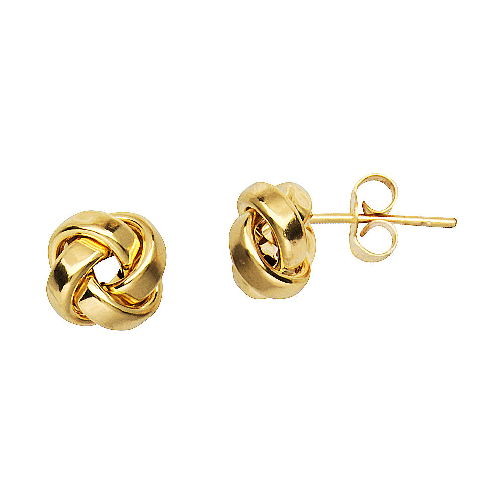 14K Yellow Gold High Polish Flat Tube Love Knot Earring