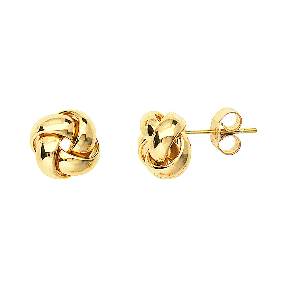 14K Yellow Gold High Polished Puffed Love Knot Earring