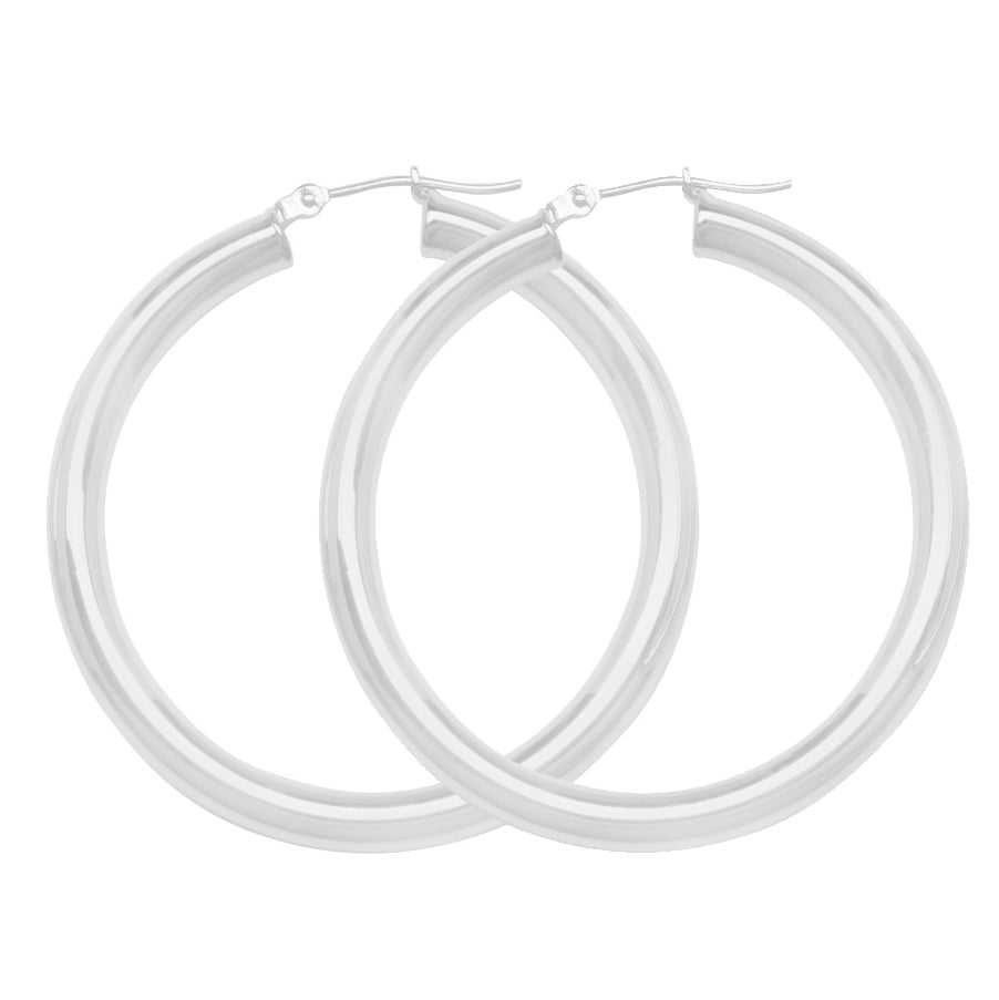 "14K White Gold 4 mm Polished Round Hoop Earrings 1.6"" Diameter"