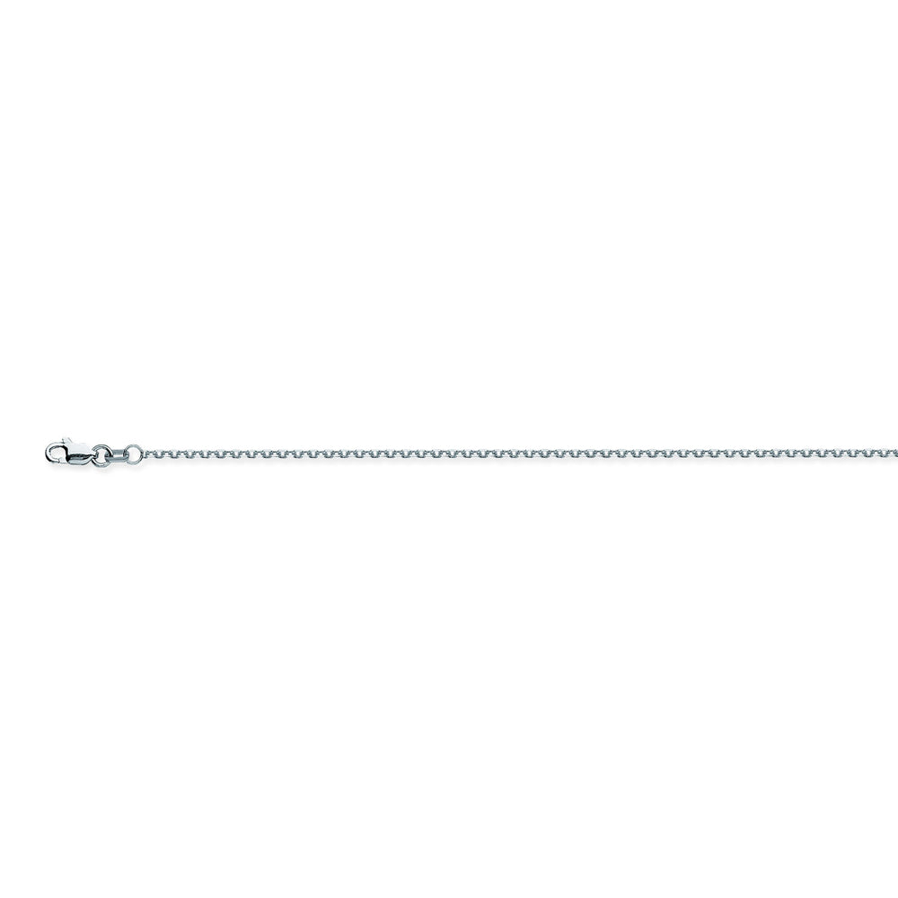 14K White Gold 1.15 Diamond Cut Cable Chain in 16 inch, 18 inch, 20 inch, & 24 inch