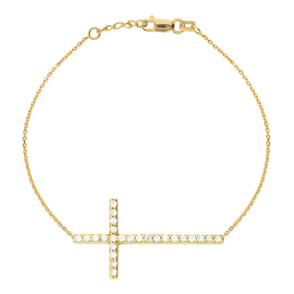 "14K Yellow Gold Sideways Cross Cubic Zirconia Bracelet. Adjustable Cable Chain 7"" to 7.50"""