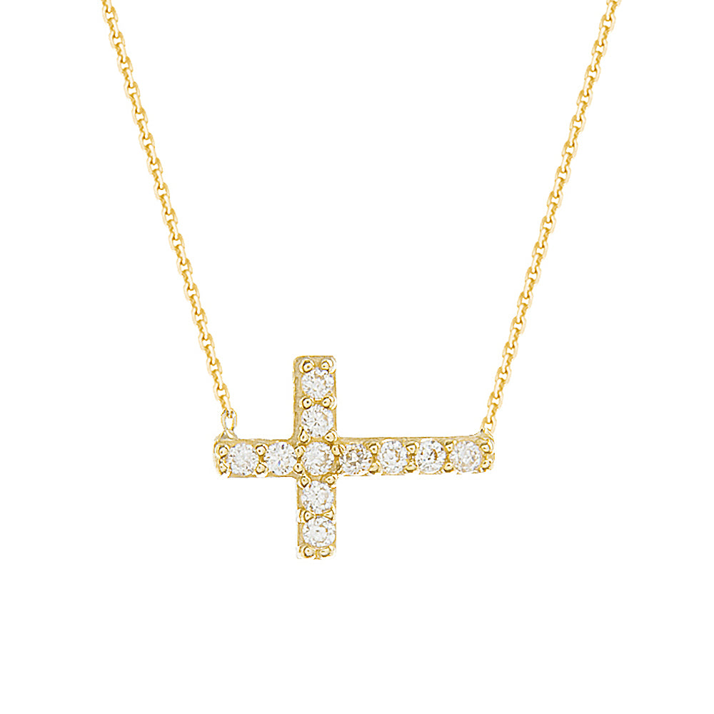 "14K Yellow Gold Cubic Zirconia Sideways Cross Necklace. Adjustable Diamond Cut Cable Chain 16"" to 18"""