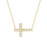 14K Yellow Gold Cubic Zirconia Sideways Cross Necklace. Adjustable Diamond Cut Cable Chain 16