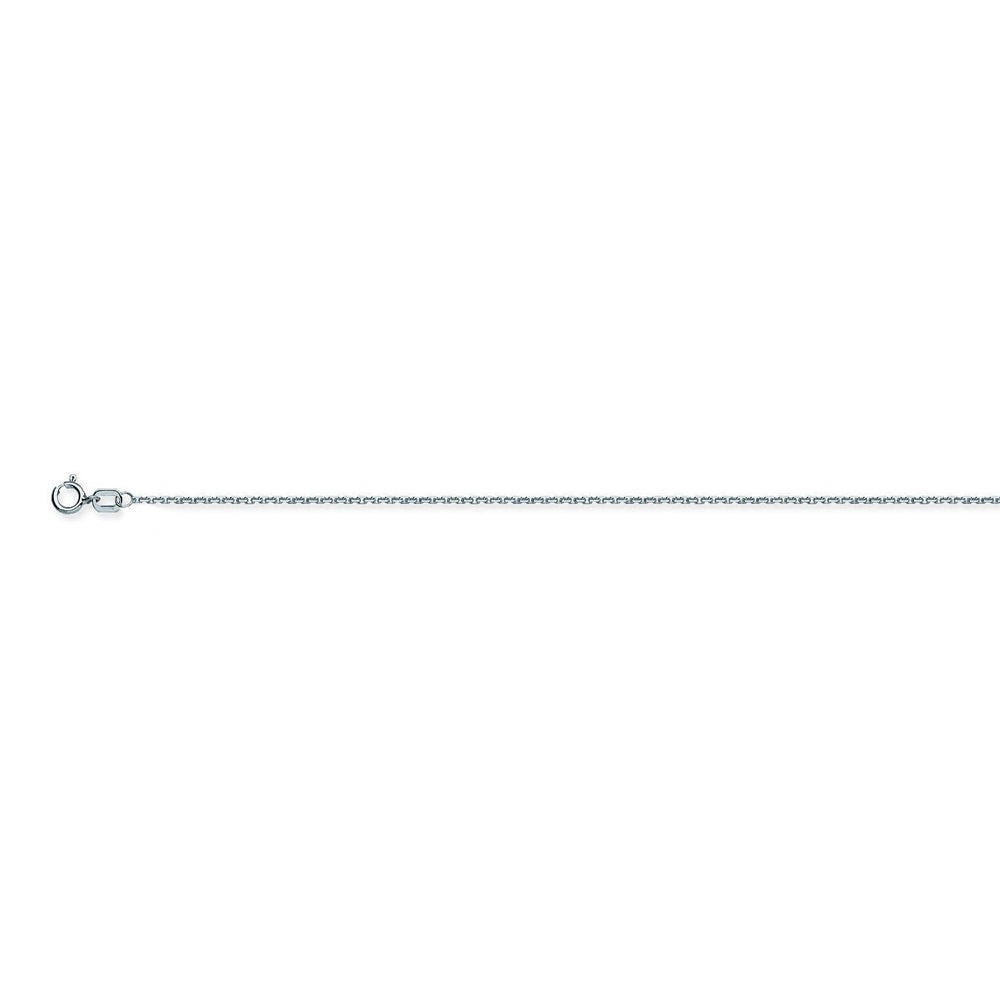 10K White Gold 0.8 Diamond Cut Cable Chain in 16 inch, 18 inch, 20 inch, & 24 inch