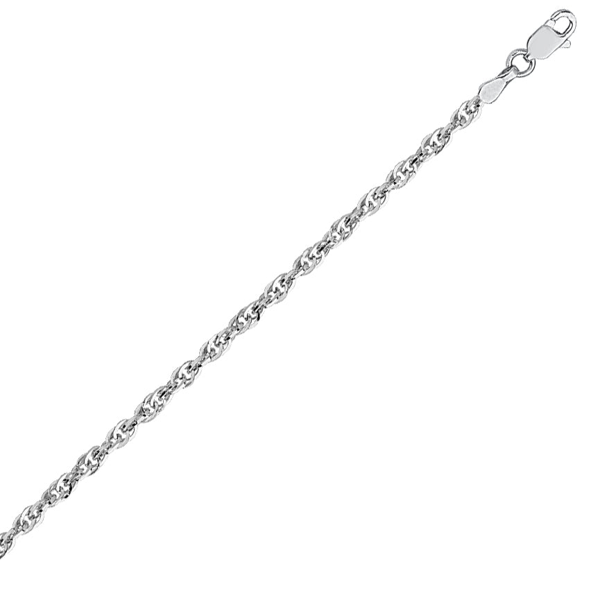 14K White Gold 2.6 Designer Rope Chain in 16 inch, 18 inch, & 20 inch