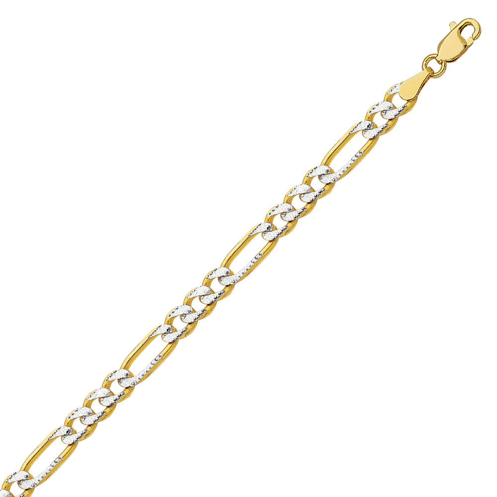 14K Two Tone Yellow & White Gold 4.75 Pave Figaro Chain in 18 inch, 20 inch, 22 inch, 24 inch, & 30 inch