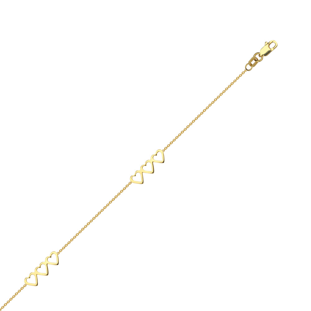 "14K Yellow Gold Trio Open Heart Anklet 10"" length"