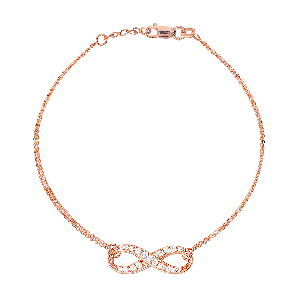 "14K Rose Gold Infinity Cubic Zirconia Bracelet. Adjustable Cable Chain 7"" to 7.50"""