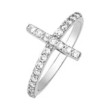 14K White Gold Sideways Cross Cubic Zirconia Ring
