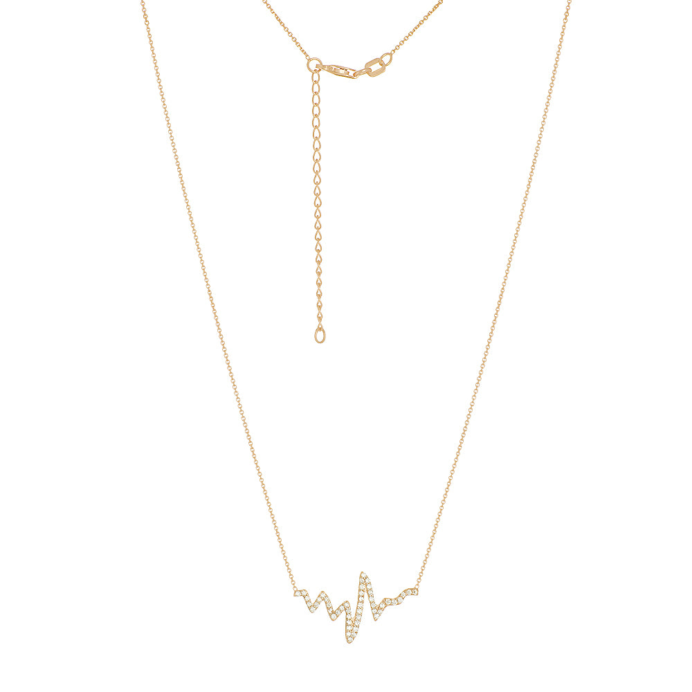 "14K Yellow Gold Cubic Zirconia Heartbeat Necklace. Adjustable Diamond Cut Cable Chain 16"" to 18"""