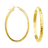10K Yellow Gold 3 mm Diamond Cut Oval Hoop Earrings 22mmx32mm