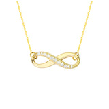 "14K Yellow Gold Infinity Cubic Zirconia Necklace. Adjustable Cable Chain 16"" to 18"""